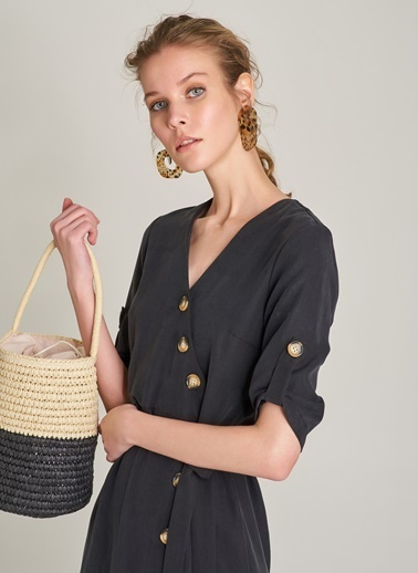 NGSTYLE Düğme Detaylı Lyocell Elbise Siyah